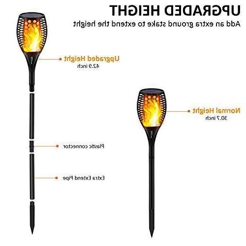 Gold Outdoor Flickering Flames Torch Lights Solar Light - to Dawn Tiki Torches Waterproof