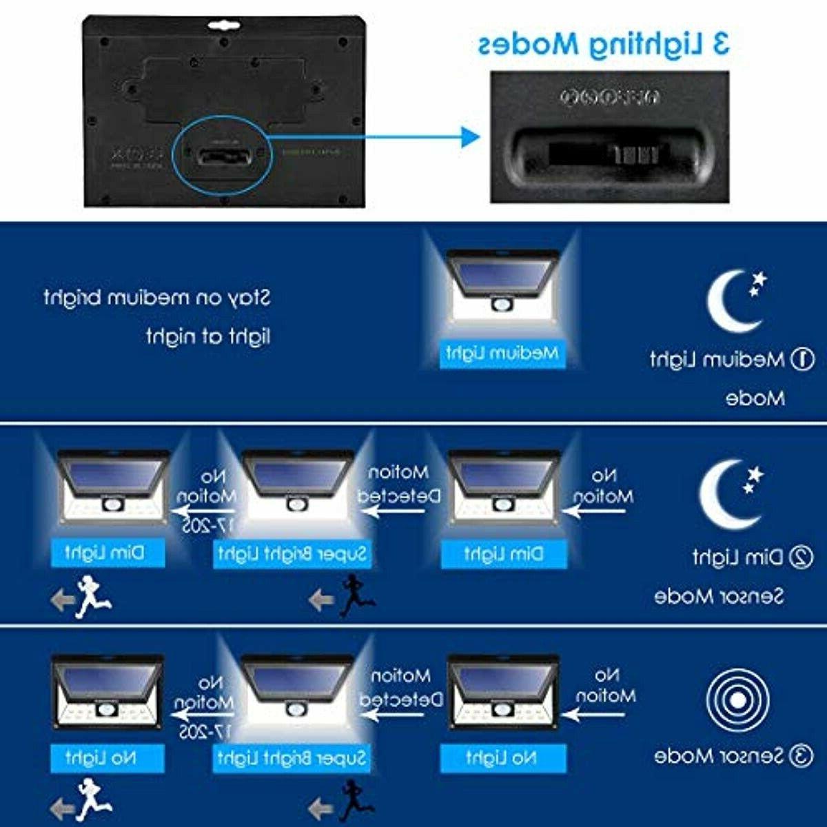 URPOWER Solar Upgraded 3 Angle Solar Lights Wireless