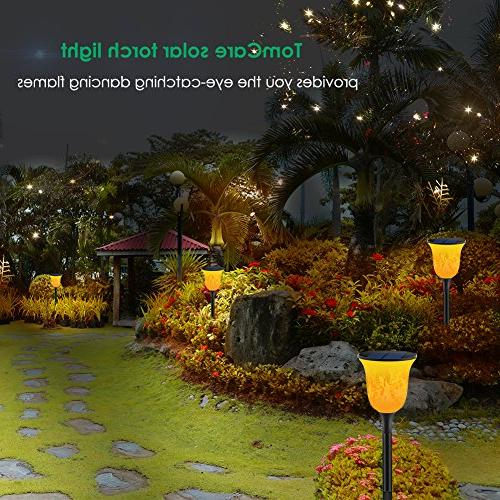 TomCare Solar Lights Path Torches LED Waterproof Torches Lights Powered Dancing Flame Lighting Auto Patio Yard