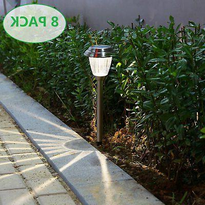 voona Solar LED Outdoor Lights 8-Pack Stainless Steel Pathwa