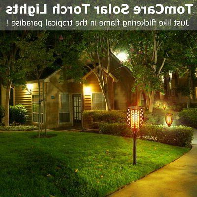 Outdoor Decorate Solar Path Flicker Flames Torches Lights Waterproof