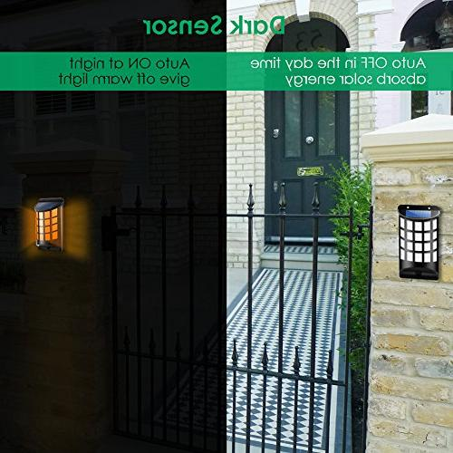 TomCare Solar Lights Flickering Wall Lights Outdoor Dark Auto Mounted Night Lights Design Pathway Door Patio Deck Driveway