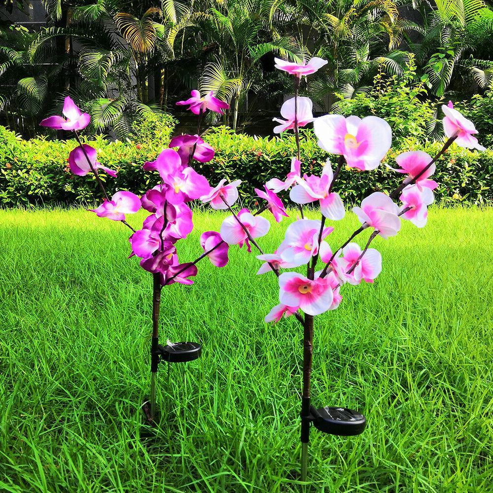 2 PCS Lights Orchid Flowers Lamp Yard Patio