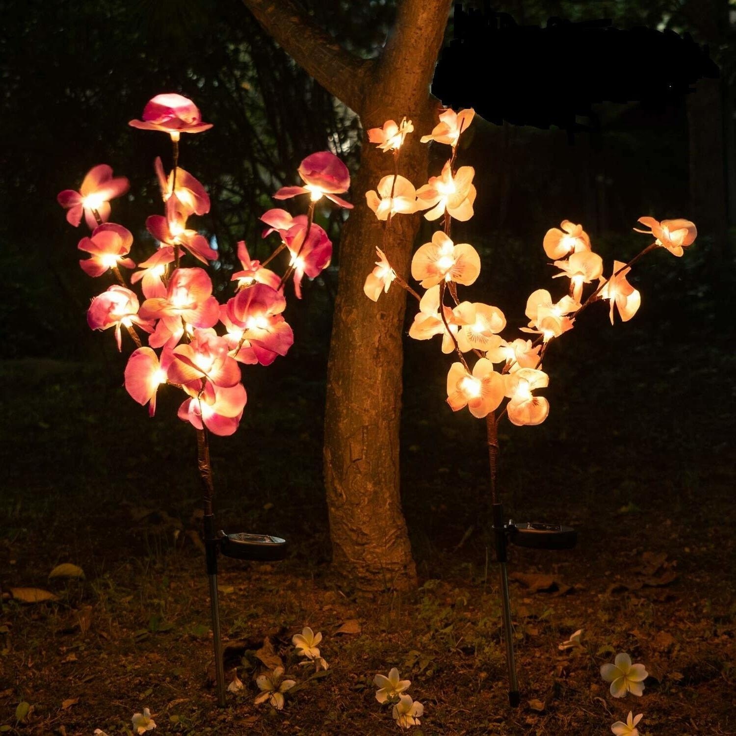 solar orchid flowers stake lamp for yard