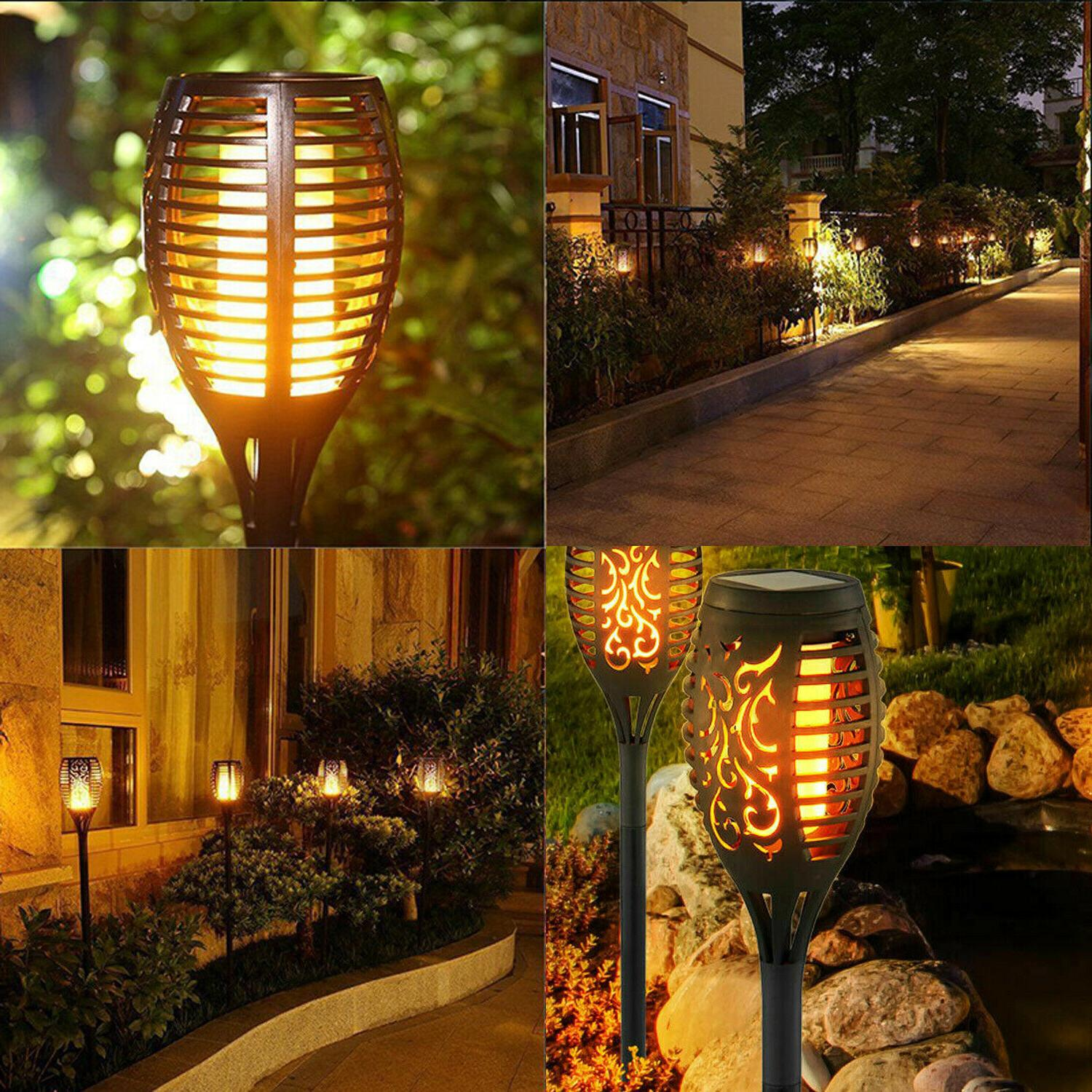 LED Solar Torch Flickering Flame Light Yard
