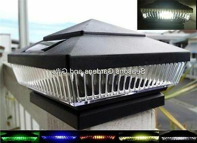 Solar Post Cap Fence Lights Black 4x4 Wood Post