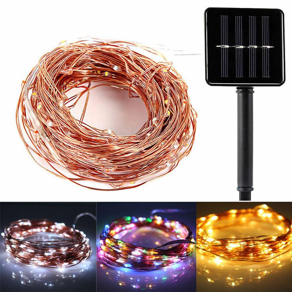 solar power led string lights 100 copper