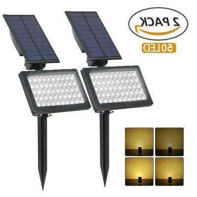 solar power 50 led spotlight landscape lights