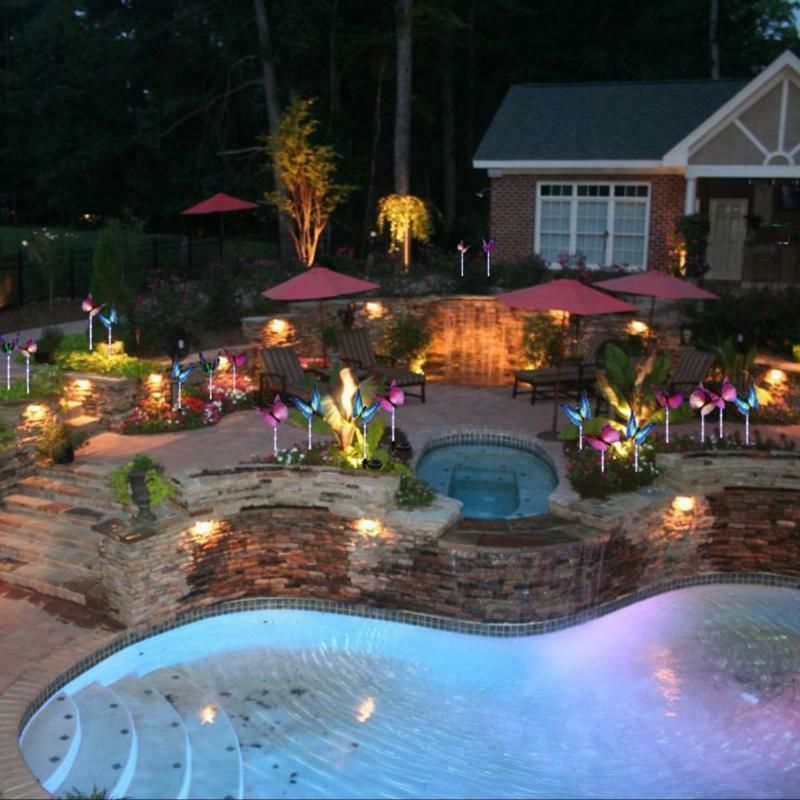 Solar Power Garden Stake Butterfly Lamp Yard LED Lights
