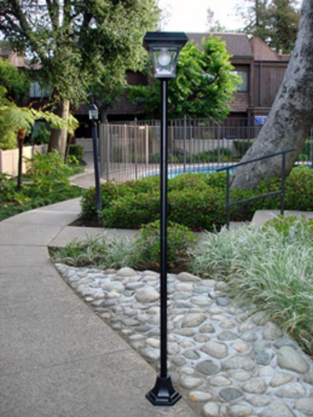 "Outdoor Solar Power 77"" H Lamp Post Vintage Street Light w/"