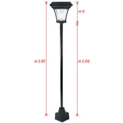 "Outdoor Solar Power 77"" H Lamp Post Vintage Street Light w/"