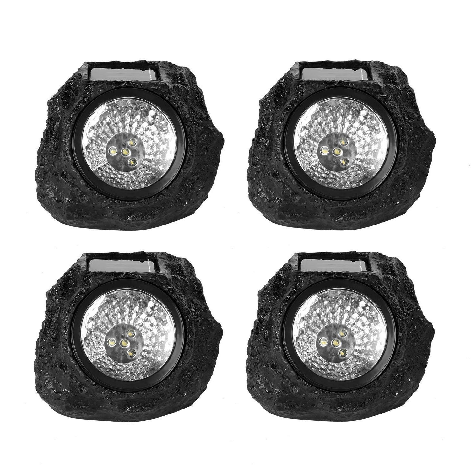 4 Rock Lights Solar Power Stone Light Outdoor Lighting