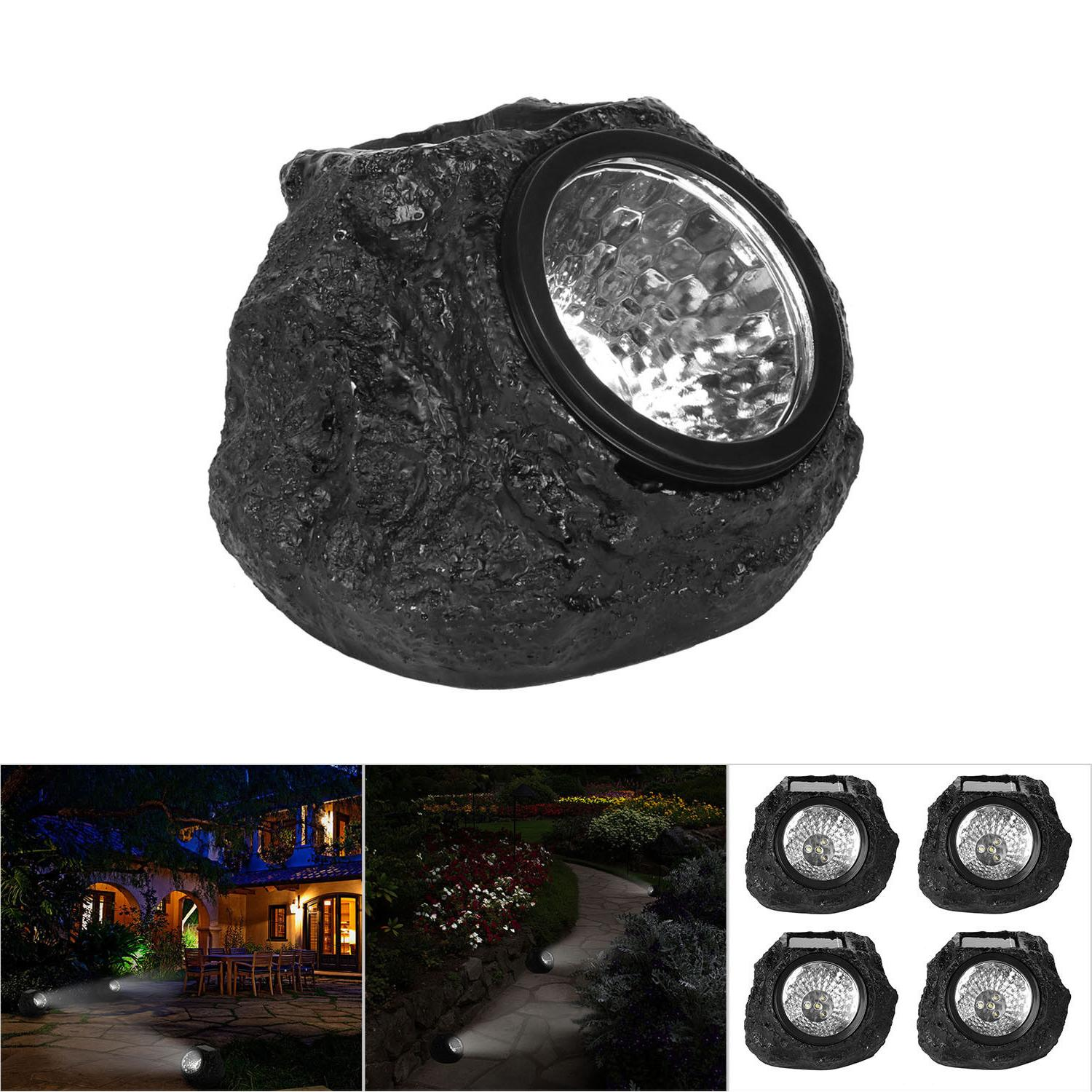 4 LED Rock Solar Power Light Lighting