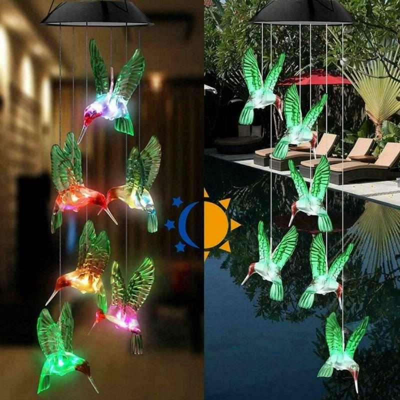 Solar Changing LED Wind Chimes Garden Yard Lamp