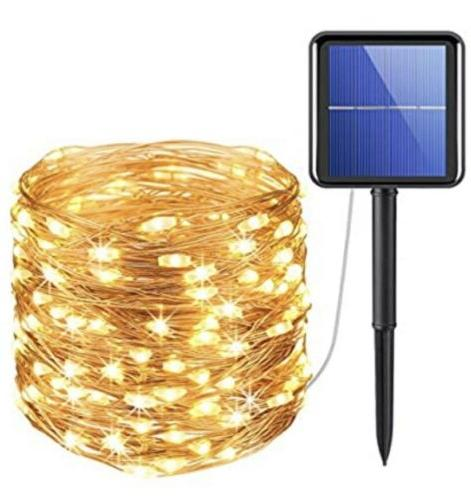 solar powered string lights 200 led copper