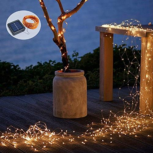 Solar String 2 Pack 100 Fairy 33 8 Modes Copper Lights Waterproof Outdoor String Lights Patio Gate Yard Party Wedding Indoor Bedroom Warm by