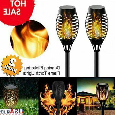 2X Outdoor 12LED Solar Torch Dance Flickering Flame Light La