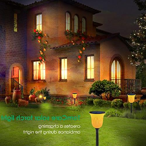 TomCare Solar Path LED Flickering Flames Torches Powered Lights Dancing Lighting Dusk Auto Patio