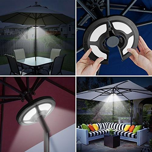 Solar Lights Outdoor,AVEKI Patio Umbrella with Lights Bright Multi-Function Cordless Pole Lights for Camping Tent Patio Garden Backyard