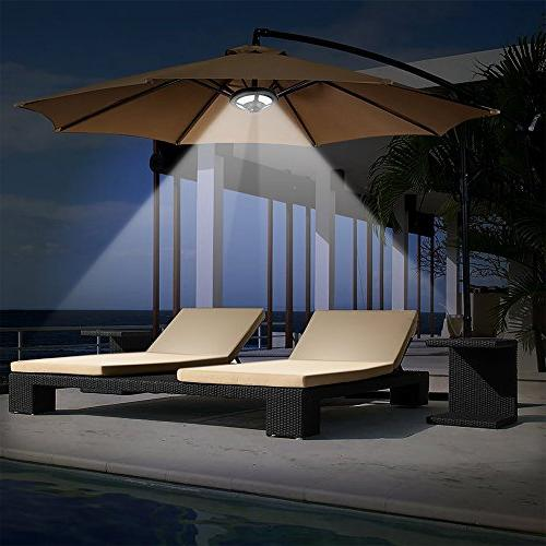 Solar Umbrella Patio Umbrella with Lights Pole Tent Backyard