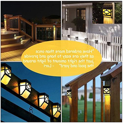 Greluna Solar Outdoor, Modes Led Waterproof Deck, Fence, Door, Landscape, Changing,Pack of