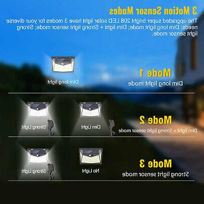 208 Solar Power Lights PIR Motion Wall Lamp Garden Outdoor