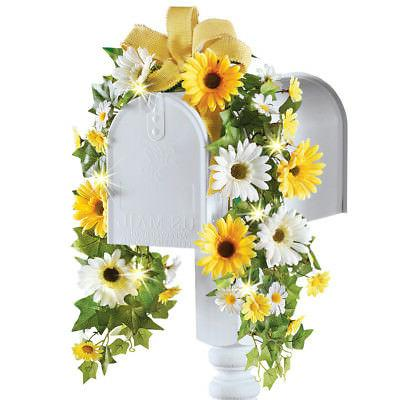 Summer Daisy & Sunflower Floral Mailbox Swag Decoration with