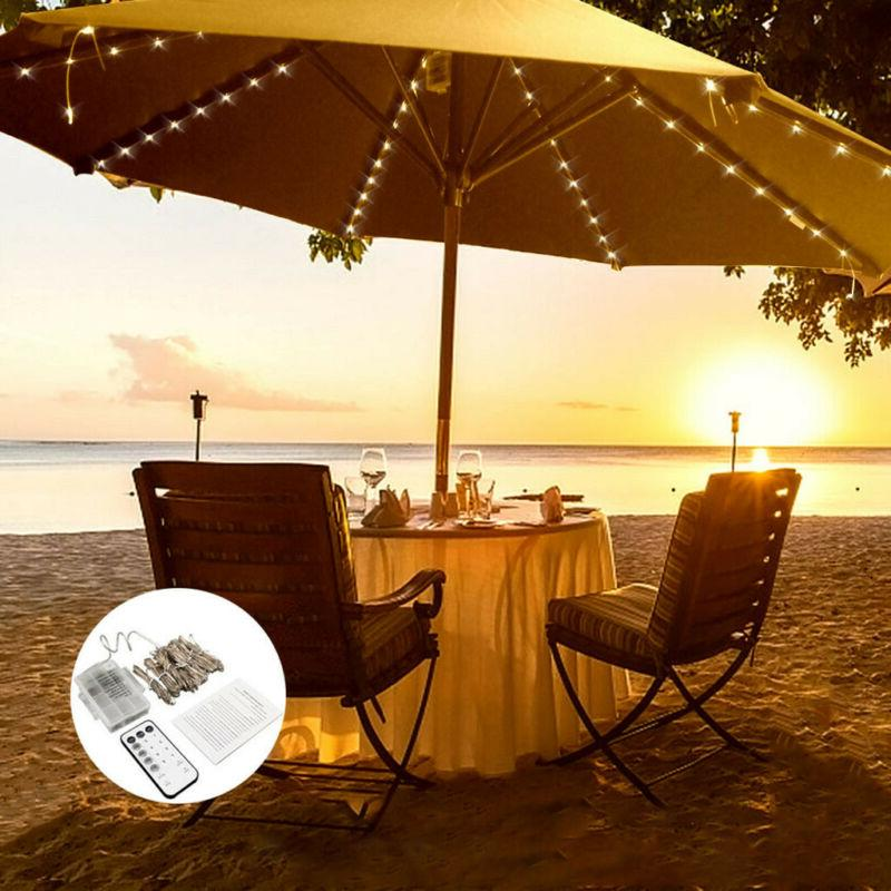 Umbrella Solar String Decorative Outdoor Beach 8*1.4 Meters Lights OT