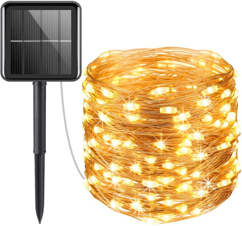 Solar Powered String Lights, Mini 100 LED Copper Wire Lights