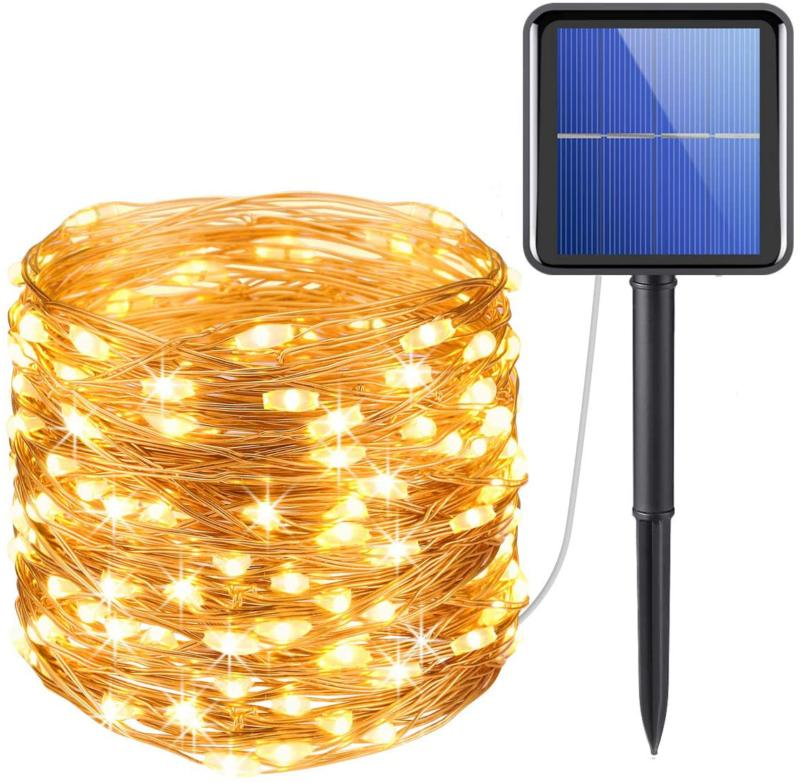 AMIR Upgraded Solar String Lights, 72ft 8 Modes Copper Wire