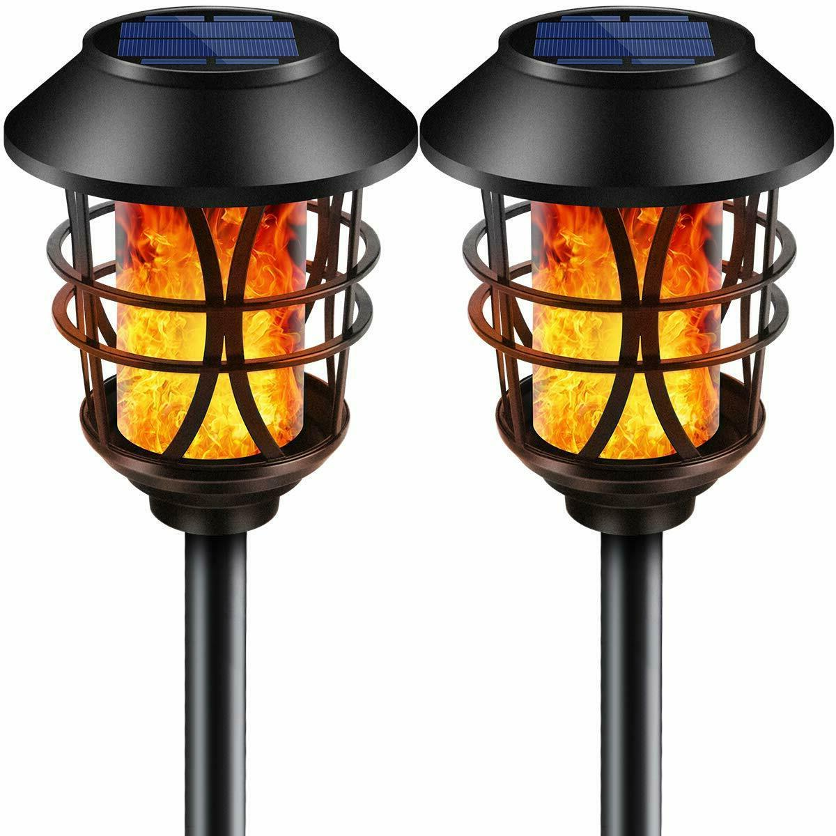 waterproof outdoor solar lights metal flickering flame