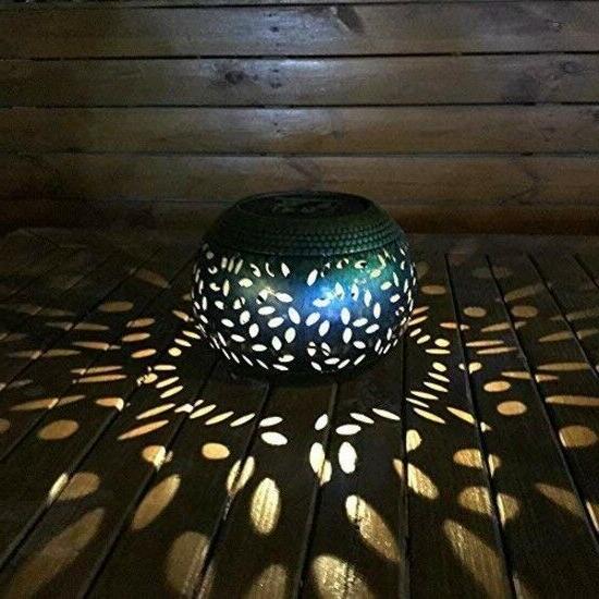 whitelotous solar lantern outdoor garden lights metal