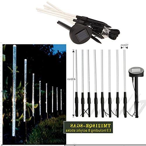 Whitelotous 8 Pack Whites Solar Lights Garden Stick Light Set