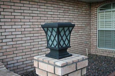 Wireless Solar Pillar LED Light Decorative Fixture Black Pos