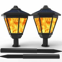 Lampat Solar Lights, Waterproof Flickering Flames Torches Li