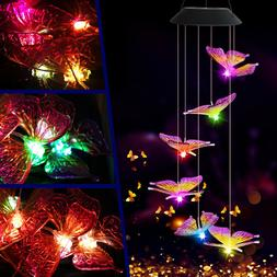 Solar Color Changing LED Large Butterfly Wind Chimes Home Ga