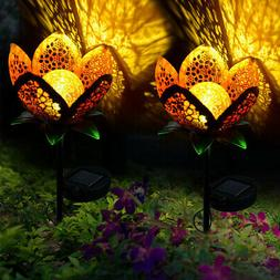 LED Garden Solar Light Pathway Hollow Flower Stake Projector