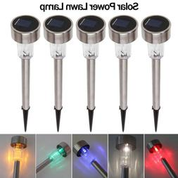 LED Solar Light Stainless Steel Lawn Lamp Garden Waterproof