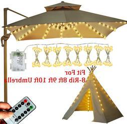 LED Solar Powered Patio Umbrella String Light Fit 8ft 9ft 10