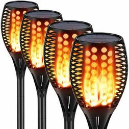 LED Solar Powered Torch Tiki Flickering Flame Garden Walkway