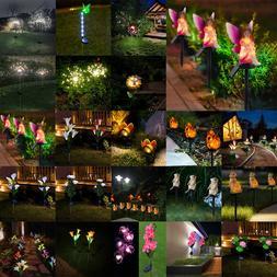 LED Solar Rose Butterfly Light Waterproof Outdoor Garden Lan
