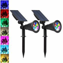 led solar spotlights 7 led color changing