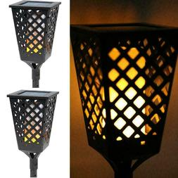 LED Solar Tiki Torch Lights Dancing Flickering Flame Outdoor
