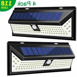 118LED Solar Lights Outdoor Wireless Motion Sensor Wall Yard