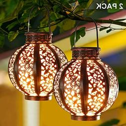MAGGIFT 2 Pack Hanging Solar Lanterns Retro Solar Lights wit