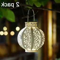 MAGGIFT 2 Pack Hanging Solar Lights Outdoor Retro Hanging wi