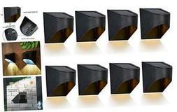 Maggift Outdoor Metal Solar Deck Lights, LED Solar Fence Lig