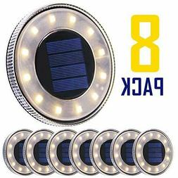 MAGIFT 8 Pack Solar Disk Lights Outdoor 12 LED Ground Light,