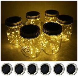 6 Pack Mason Jar Lights 10 LED Solar Warm White Fairy String