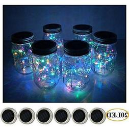 6 Pack Mason Jar Lights 20 LED Solar Colorful Fairy String L